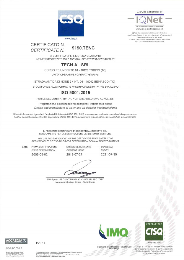 Tecn.A.'s ISO certification