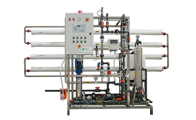 Reverse osmosis system with 4 inch membranes on skid